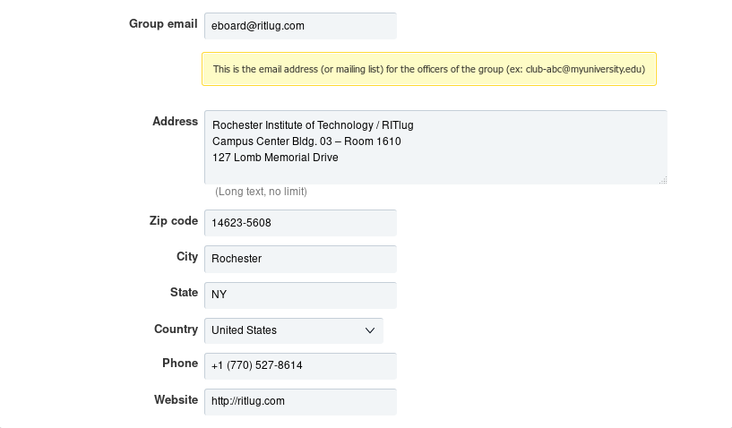 Update address settings for RITlug from CampusGroups