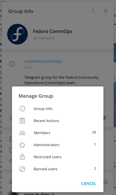 "Open the group overview, then click the three-prong button towards the top right to open ""Manage group"""