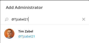 Search for a new administrator by their Telegram username